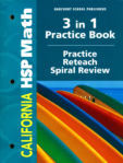 3 in 1 Practice Book Practice Reteach Spiral Review Math Workbook (click for larger picture)